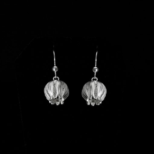 """Handmade Earrings """"Juicy Pom"""" Filigree Silver Jewelry from Cyprus"""