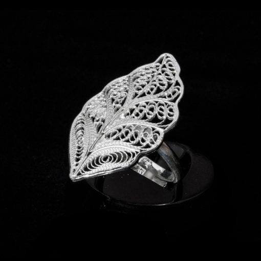 "Handmade Ring ""Riverleaf"" Filigree Silver Jewelry from Cyprus"
