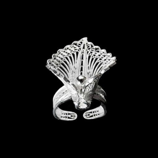 "Handmade Ring ""Virgin Lotus "" Filigree Silver Jewelry from Cyprus"