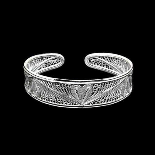 "Handmade Bangle ""Heart"" Filigree Silver Jewelry from Cyprus"
