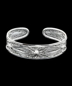 "Handmade Bangle ""Crosslines"" Filigree Silver Jewelry from Cyprus"