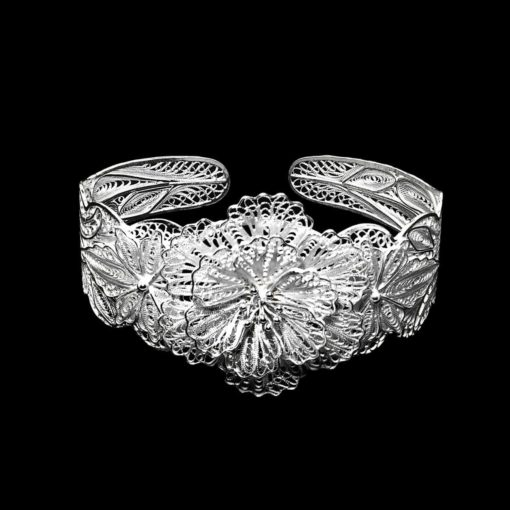 "Handmade Bangle ""Wild Flower"" Filigree Silver Jewelry from Cyprus"