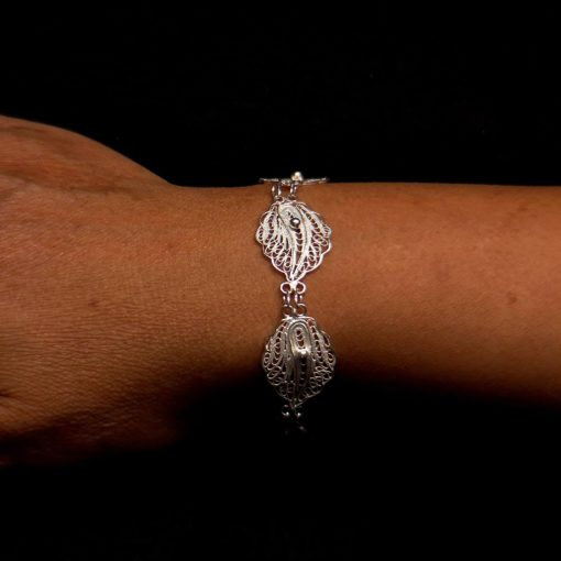 "Handmade Bracelet ""New Lotus"" Filigree Silver Jewelry from Cyprus"