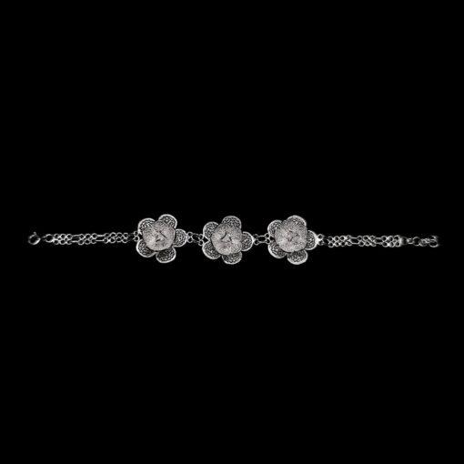 "Handmade Bracelet ""Blossom"" Filigree Silver Jewelry from Cyprus"