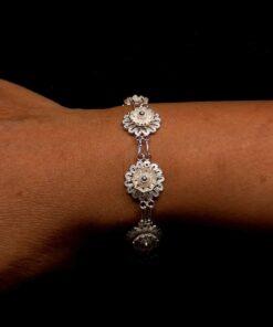 "Handmade Bracelet ""Hellebore"" Filigree Silver Jewelry from Cyprus"