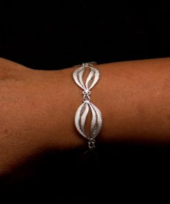 "Handmade Bracelet ""High Waves"" Filigree Silver Jewelry from Cyprus"