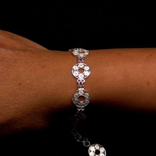 "Handmade Bracelet ""Accretion"" Filigree Silver Jewelry from Cyprus"