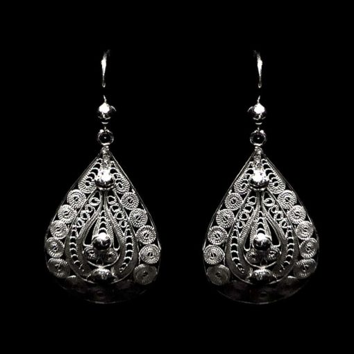 "Handmade Earrings ""Ornament"" Filigree Silver Jewelry from Cyprus"