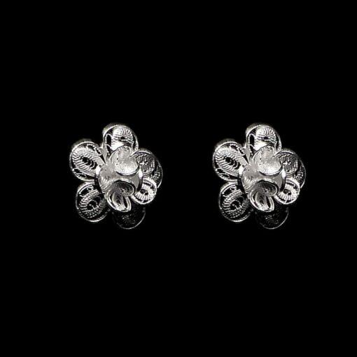 "Handmade Stud Earrings ""Gloxinia"" Filigree Silver Jewelry from Cyprus"
