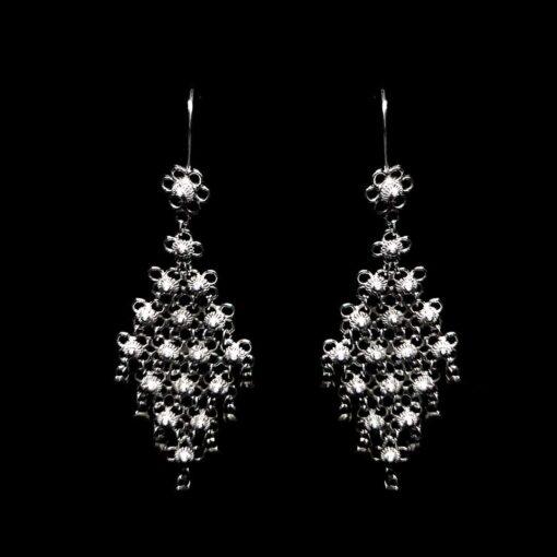 "Handmade Earrings ""Diamond"" Filigree Silver Jewelry from Cyprus"
