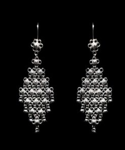 "Handmade Earrings ""Diamond"" Filigree Silver Jewelry from Cyprus"