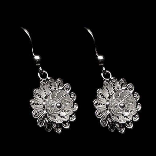 "Handmade Earrings ""Hellebore"" Filigree Silver Jewelry from Cyprus"