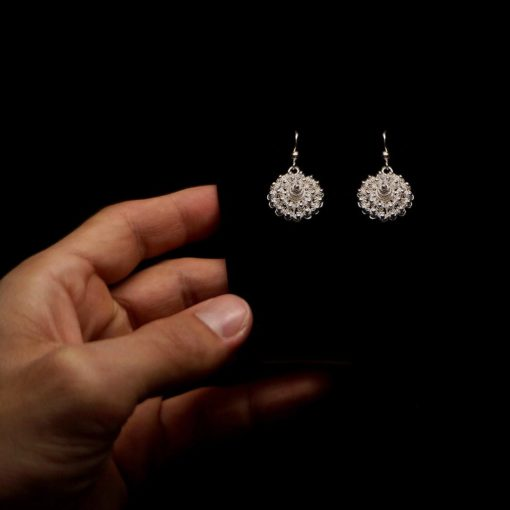 "Handmade Earrings ""Dahlia"" Filigree Silver Jewelry from Cyprus"