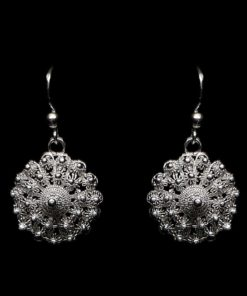 "Handmade Earrings ""Dahlia"" Filigree Silver Jewelry from Cyprus"