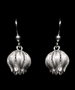 "Handmade Earrings ""Juicy Pom"" Filigree Silver Jewelry from Cyprus"
