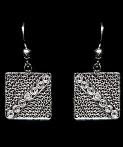 """Handmade Earrings """"Square"""" Filigree Silver Jewelry from Cyprus"""