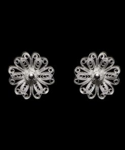 "Handmade Stud Earrings ""Daisy"" Filigree Silver Jewelry from Cyprus"