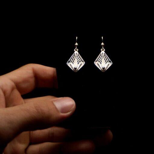 "Handmade Earrings ""Tree"" Filigree Silver Jewelry from Cyprus"