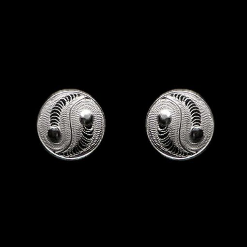 "Handmade Stud Earrings ""Yin Yang"" Filigree Silver Jewelry from Cyprus"