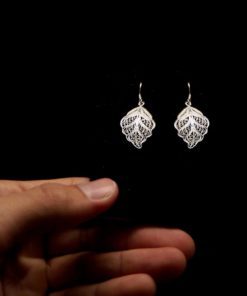 "Handmade Earrings ""Riverleaf"" Filigree Silver Jewelry from Cyprus"