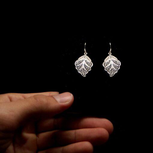 "Handmade Earrings ""Riverleaf"" Filigree Silver Jewelry from Cyprus"