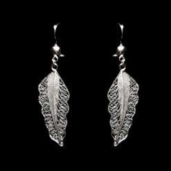 "Handmade Earrings ""Wing"" Filigree Silver Jewelry from Cyprus"