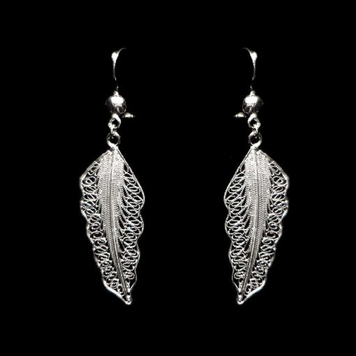 "Handmade Earrings ""Wing"" Filigree Silver Jewelry from Cyprus"