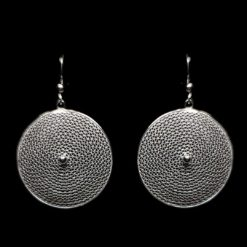 "Handmade Earrings ""Moon"" Filigree Silver Jewelry from Cyprus"