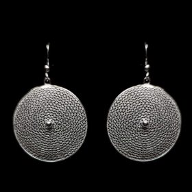 "Handmade Earrings ""Moon"" Filigree Silver Jewelry from Cyprus"