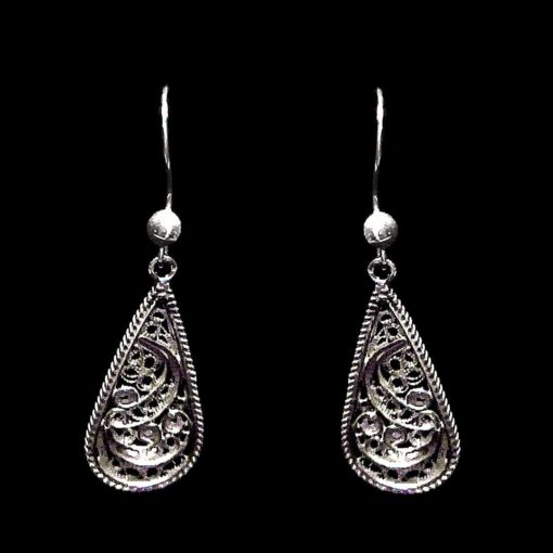 "Handmade Earrings ""Droplet"" Filigree Silver Jewelry from Cyprus"