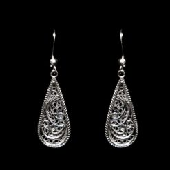 "Handmade Earrings ""Droplet"" Filigree Silver Jewelry from Cyprus"