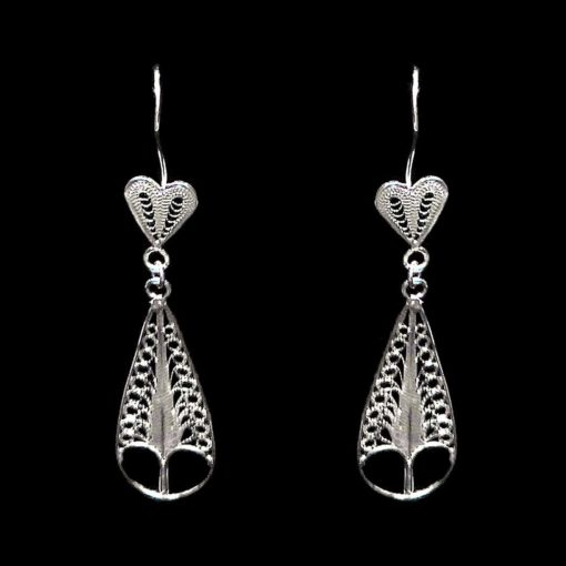 "Handmade Earrings ""Care"" Filigree Silver Jewelry from Cyprus"