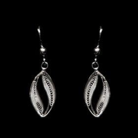 "Handmade Earrings ""Wave"" Filigree Silver Jewelry from Cyprus"