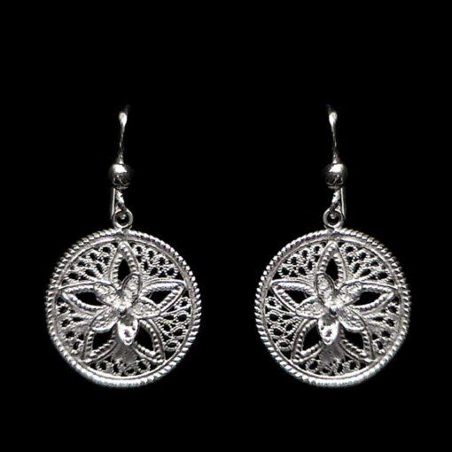 "Handmade Earrings ""Shiny Star"" Filigree Silver Jewelry from Cyprus"