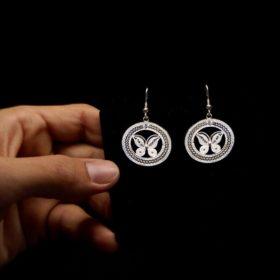 """Handmade Earrings """"Butterfly"""" Filigree Silver Jewelry from Cyprus"""