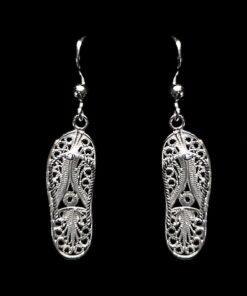 """Handmade Earrings """"Flip Flops"""" Filigree Silver Jewelry from Cyprus"""