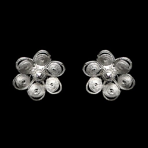 "Handmade Stud Earrings ""Chamomile"" Filigree Silver Jewelry from Cyprus"