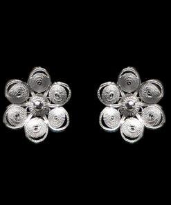 "Handmade Stud Earrings ""Chamomile"" Filigree Silver Jewelry from Cyprus"