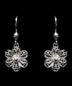 "Handmade Earrings ""Hepatica"" Filigree Silver Jewelry from Cyprus"