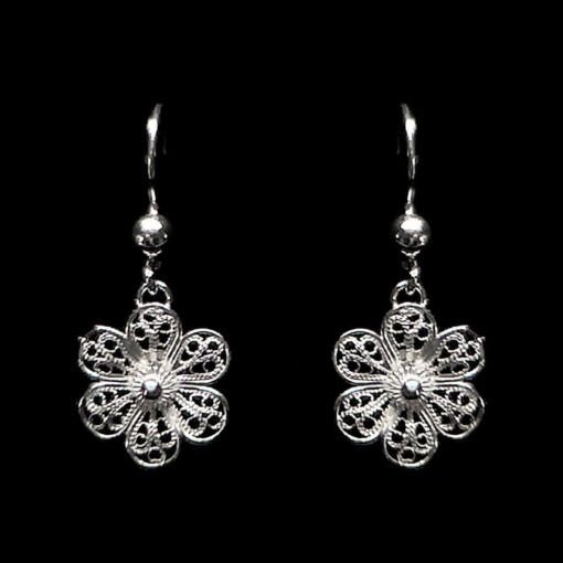 "Handmade Earrings ""Hepatica"" Filigree Silver Jewelry from Cyprus"