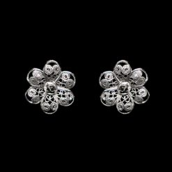"Handmade Stud Earrings ""Hepatica"" Filigree Silver Jewelry from Cyprus"