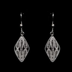 "Handmade Earrings ""Mirror"" Filigree Silver Jewelry from Cyprus"