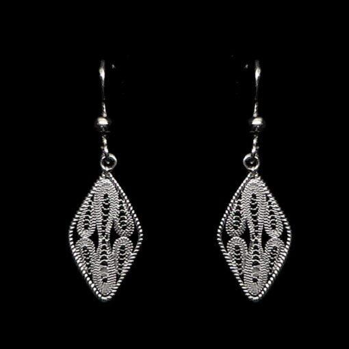 "Handmade Earrings ""Mirror"" Filigree Silver Jewelry from Cyprus"