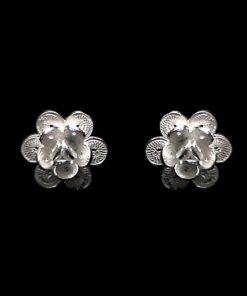 "Handmade Earrings ""Camellia"" Filigree Silver Jewelry from Cyprus"