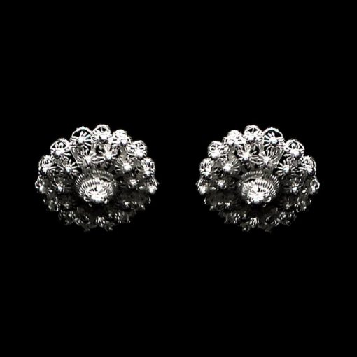 "Handmade Stud Earrings ""Dahlia"" Filigree Silver Jewelry from Cyprus"