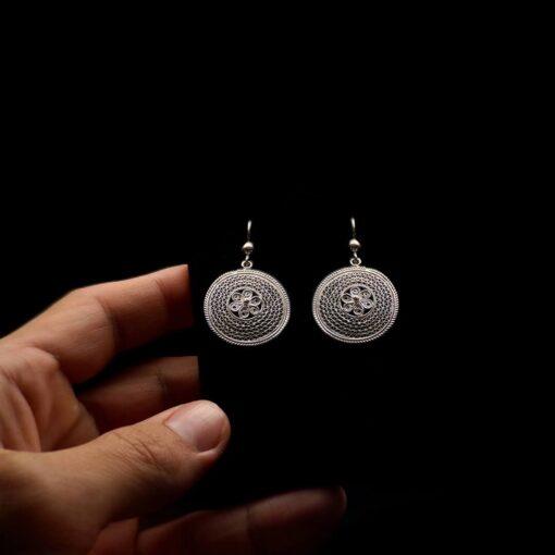 "Handmade Earrings ""Cosmos"" Filigree Silver Jewelry from Cyprus"