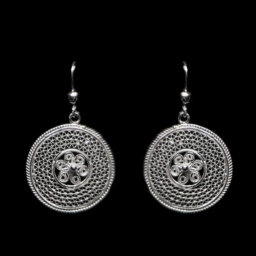 "Handmade Earrings ""Cosmos"" Filigree Silver Jewelry from Cyprus"
