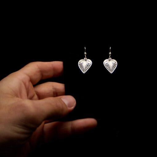 "Handmade Earrings ""Hearts"" Filigree Silver Jewelry from Cyprus"