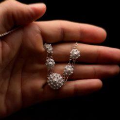 "Handmade Necklace ""Dahlia"" Filigree Silver Jewelry from Cyprus"