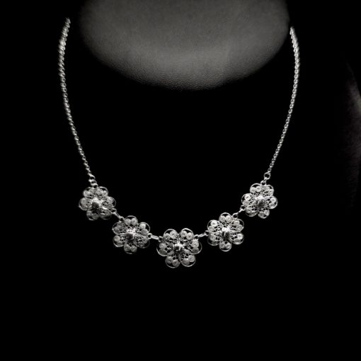 "Handmade Necklace ""Hepatica"" Filigree Silver Jewelry from Cyprus"